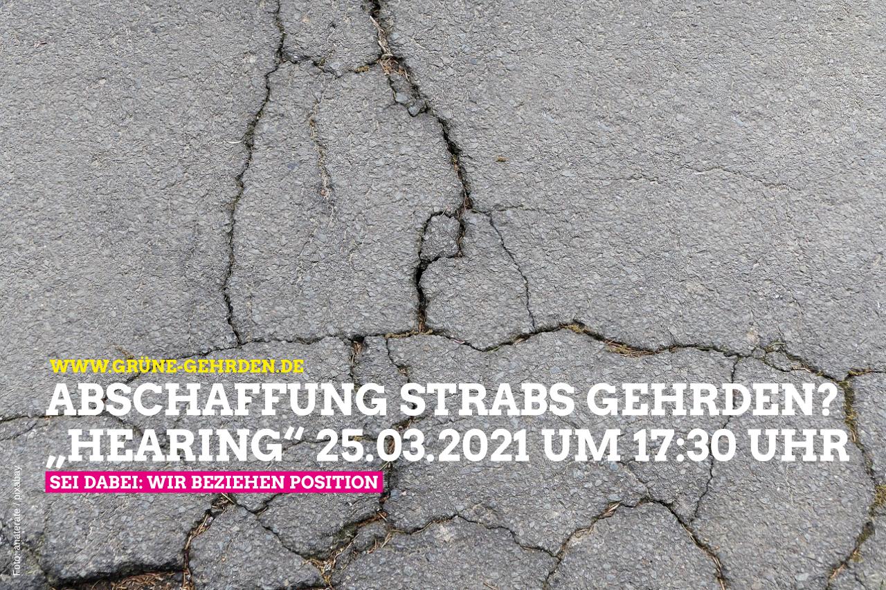 """""""Hearing"""" zur Abschaffung der Straßenausbaubeitragssatzung (Strabs) Donnerstag 25.03.2021 um 17:30 Uhr"""