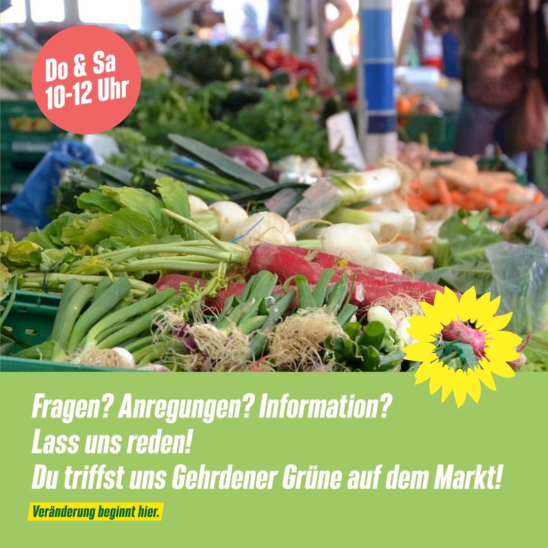 Lass uns reden! GRÜNE Gehrden: Do & Sa auf dem Markt in Gehrden