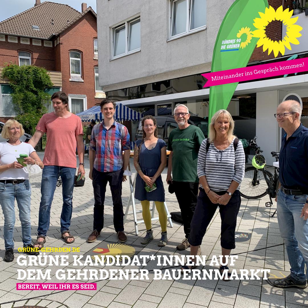 Grüne Kandidatinnen und Kandidaten auf dem Gehrdener Bauernmarkt
