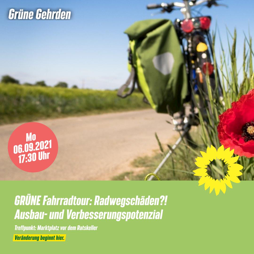 Einladung: GRÜNE Fahrradtour – Radwegschhäden?! – Ausbau- & Verbesserungspotenzial